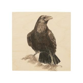 Arte de la naturaleza animal del pájaro del cuervo impresiones en madera