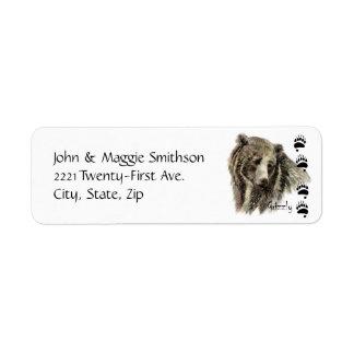 Arte de la naturaleza de la fauna del oso grizzly etiqueta de remite
