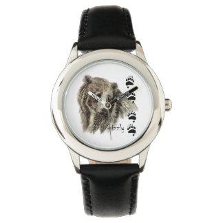 Arte de la naturaleza de la fauna del oso grizzly relojes