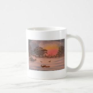 Arte de la naturaleza de la salida del sol de los  tazas de café
