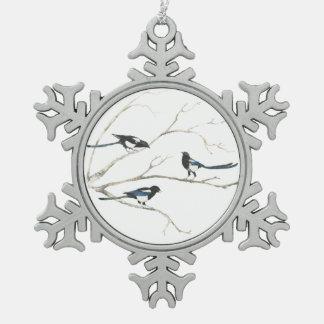 Arte de la naturaleza del árbol del pájaro de la adorno de peltre en forma de copo de nieve