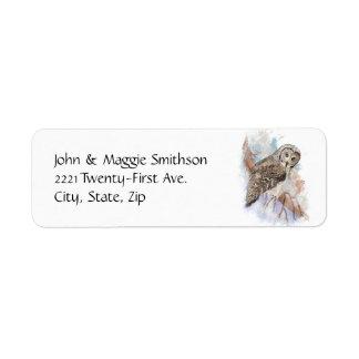 Arte de la naturaleza del pájaro del búho de gran etiquetas de remite