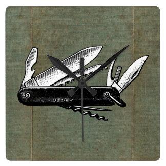 Arte de la navaja de bolsillo del vintage reloj de pared