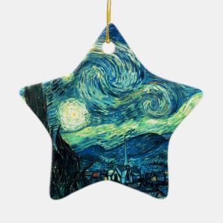 Arte de la noche estrellada adorno navideño de cerámica en forma de estrella