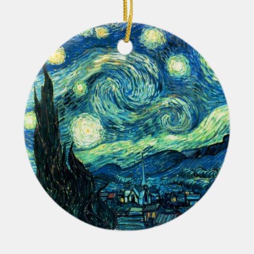 Arte de la noche estrellada adorno redondo de cerámica