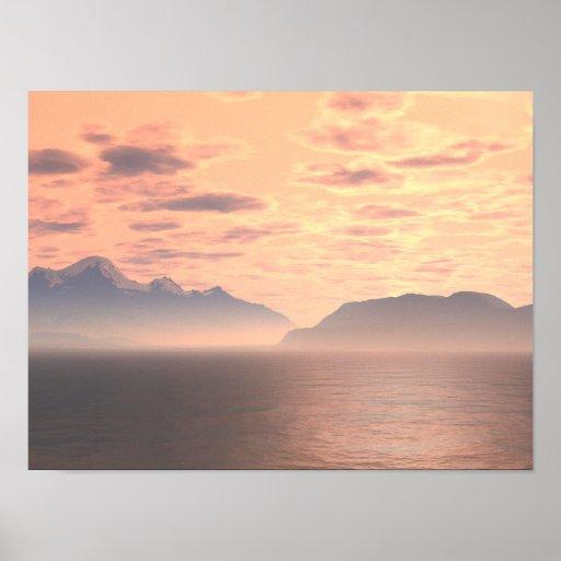 Arte de la original de la puesta del sol 3 del lag impresiones