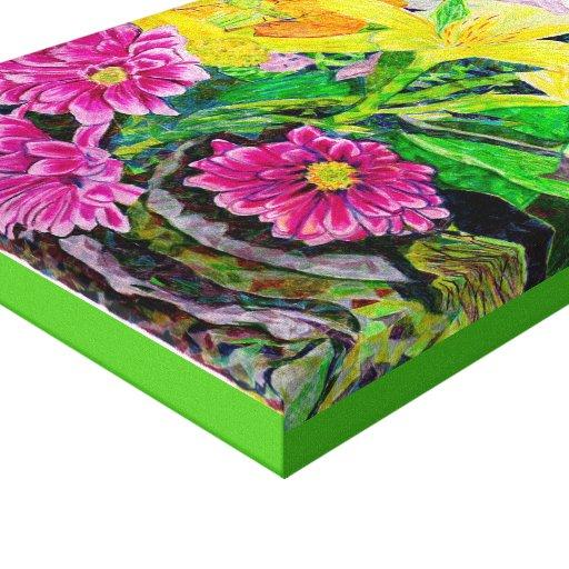 Arte de la original del jardín de flores del lirio impresion en lona
