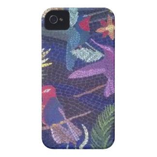 Arte de la original del mosaico del colibrí Case-Mate iPhone 4 protectores