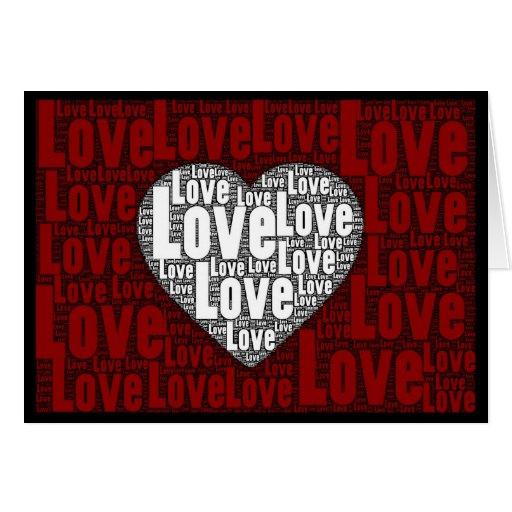 Arte de la palabra: Amor con un corazón blanco 2 Tarjeta De Felicitación