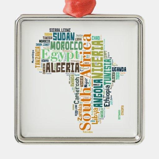 Arte de la palabra de África Adorno Navideño Cuadrado De Metal