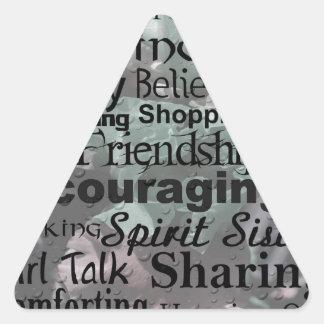 Arte de la palabra de la amistad pegatina triangular
