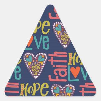 Arte de la palabra de la esperanza y del amor de pegatina triangular