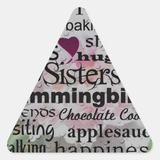 Arte de la palabra de la hermana pegatina triangular