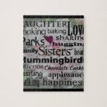 Arte de la palabra de la hermana puzzle con fotos