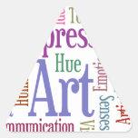 Arte de la palabra de la inspiración del artista c calcomanías de trianguloes personalizadas