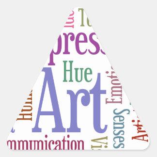 Arte de la palabra de la inspiración del artista pegatina triangular