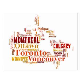 Arte de la palabra de las ciudades de Canadá Postales