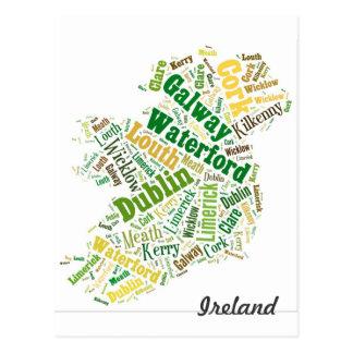 Arte de la palabra de las ciudades de Irlanda Tarjeta Postal