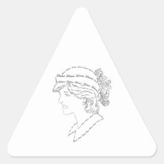 Arte de la palabra de princesa Diana Pegatina Triangular