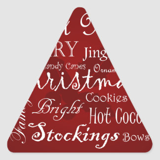 Arte de la palabra del navidad pegatina triangular