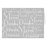 Arte de la palabra: Gracias en blanco gris de las  Tarjeton