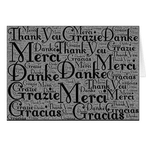 Arte de la palabra: Gracias en blanco multi del ne Tarjeta
