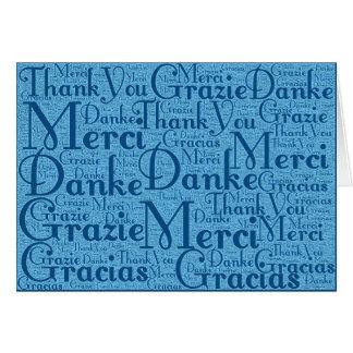 Arte de la palabra Gracias en el azul multi 2 de Tarjetón