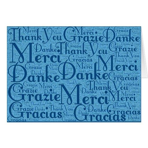 Arte de la palabra: Gracias en el azul multi 2 de  Tarjetón