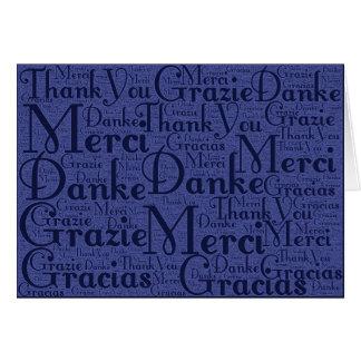 Arte de la palabra Gracias en idiomas multi - azu Tarjeton