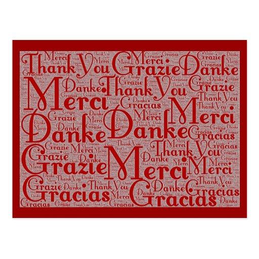Arte de la palabra: Gracias en idiomas multi - bla Postales