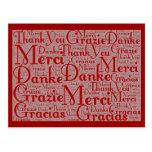 Arte de la palabra: Gracias en idiomas multi - Postal