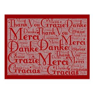 Arte de la palabra: Gracias en idiomas multi - Tarjeta Postal