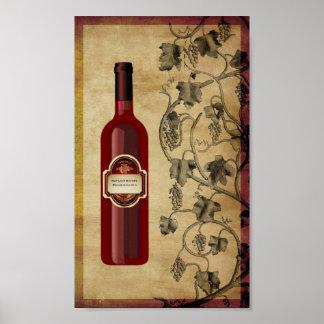 arte de la pared de la botella de vino 6X10 Posters