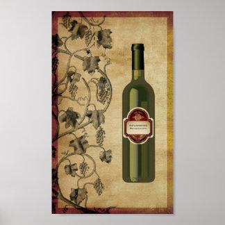 arte de la pared de la botella de vino 6X10 Poster