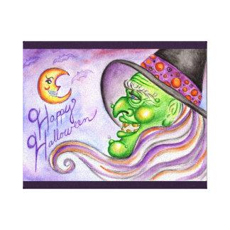 Arte de la pared de la bruja de Halloween Lona Envuelta Para Galerías