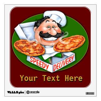 Arte de la pared de la entrega de la pizza. ¡Entre