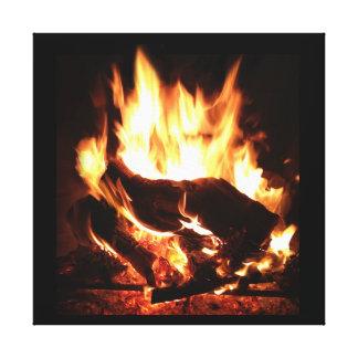 Arte de la pared de la llama de la chimenea impresión en lona estirada