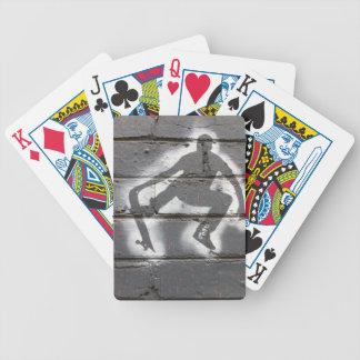 Arte de la pared de la plantilla del patinador en cartas de juego