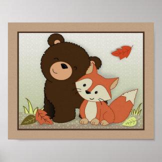 Arte de la pared de los amigos del bosque - oso póster
