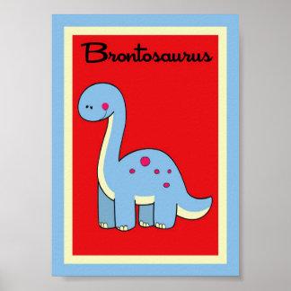 arte de la pared de los dinosaurios del Brontosaur Poster