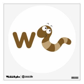 Arte de la pared de los niños - animales - gusano vinilo adhesivo