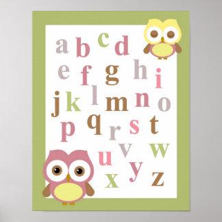 Arte de la pared del búho de la niña del alfabeto impresiones