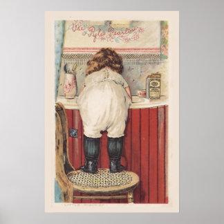 Arte de la pared del cuarto de baño del vintage póster