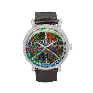 Arte de la pared del Hippie Relojes De Mano