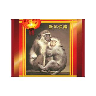 Arte de la pared por el año chino de los monos del impresiones en lona