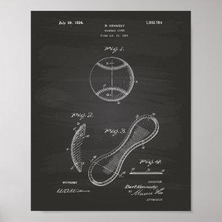 Arte de la patente de la cubierta 1924 del béisbol póster