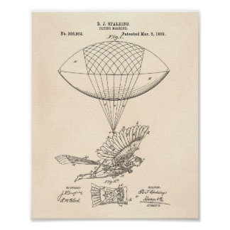 Arte de la patente de la máquina de vuelo 1889 - póster