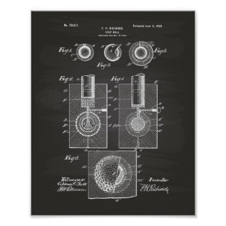 Arte de la patente de la pelota de golf 1902 - póster