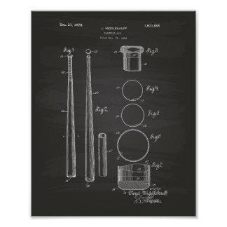 Arte de la patente del bate de béisbol 1926 - póster