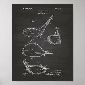 Arte de la patente del club de golf 1926 - pizarra póster